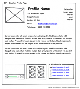 wireframe example of a personal profile webpage