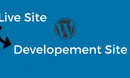 Graphic indicating live WordPress website copying to development website