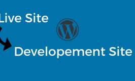 Graphic indicating live WordPress website copying to development website
