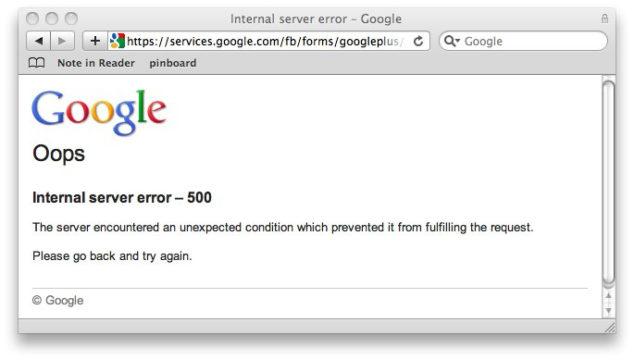 internal server error message mockup